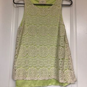 Lime Green Tank with Cream  Detail